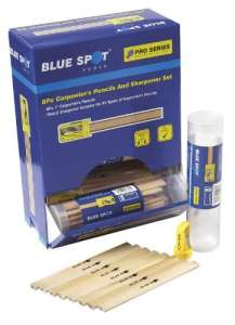 Blue Spot 28803 Lot de 7 crayons de charpentier avec taille-crayon et boîte de rangement