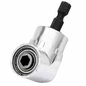 Perceuse à Angle Droit, SYCEES 1/4″ Hex 105 ° Adaptateur coudé de fixation visseuse tournevis angle porte-embout adaptateur outils