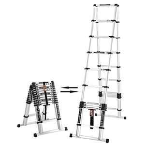 HWF Échelles télescopiques 3.8M + 3.8M Échelle télescopique Herringbone En alliage d'aluminium Fold Escalier Grenier Génie Maison
