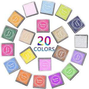Coussins Encreurs, Bukm Tampons Encreurs Coussins Multi Color Rainbow Crafts Inkpad Rubber Finger Printing Encreurs Pour enfants Bricolage Scrapbooking, Rubber Art, Craft Stamps et Card Making Decoration (20 Pcs)