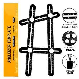 Règle Multi-Angles Mesure Pliable, ERAY Outil Angle-Izer en Alliage d'aluminium Résistant, Vis Acier, Échelle Gravée au Laser, Mesure d'angle CM et IN, Angle et Formes Variés, Sac de Protection