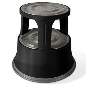 Tabouret marchepied casa pura® roulant | métal avec plateforme caoutchouc antidérapante | noir