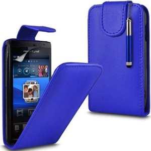 (Bleu Foncé) Sony EricssonArc X12/ ARC S Personnalisée Faites Faux Étui rabattable en cuir peau couvercle escamotable, Capacative Écran tactile Stylet &protecteur d'écran protecteur par * Aventus *