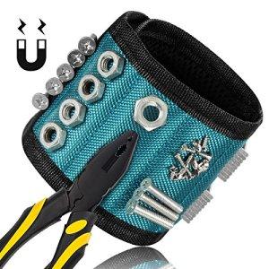 Bracelet Magnétique, Glunlun 15 Aimants Bracelet Magnétique avec 3×5 aimants forts pour vis de retenue, clous, forets Outils de maintien, vis, clous, boulons, forets et petits outils, clous et vis