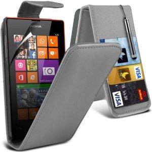 (Gris) Nokia Lumia 520/525 Personnalisée Faites en simili cuir carte de débit/crédit logement Flip cas couvrir la peau, Capacative escamotable Écran tactile Stylet &protecteur d'écran protecteur par * Aventus *