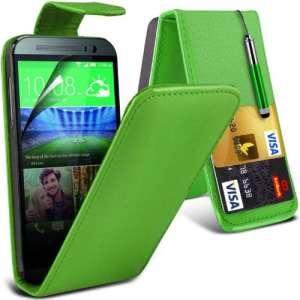 (Vert) HTC One M8 Custom Made Personnalisée Faites en simili cuir carte de débit/crédit logement Flip cas couvrir la peau avec protecteur d'écran LCD Guard & escamotable capacitif stylet par * Aventus *
