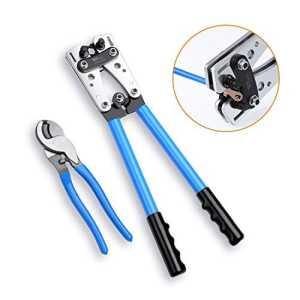 Amzdeal Pince à Sertir Réglable 5-60mm² (AWG10-1) + Pince à Dénuder et Coupe-câbles jusqu'à 70mm² Presse Pinces Outils Kit Pince en Acier Professionnel et Durable