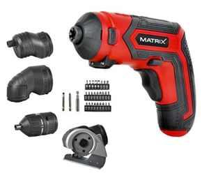 Matrix 120310021AK 4Quattro Visseuse sans fil 44embouts dans étui avec accessoires et embouts, 6W, 4V Rouge
