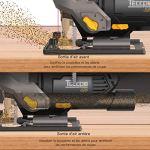 Scie sauteuse, TECCPO 800W Scie sauteuse électrique avec 6 Lames et Coffret, Semelle inclinable 0-45°, 6 Vitesses VariablesIdéal pour couper les métaux, planches en bois, plastiques – TAJS01P