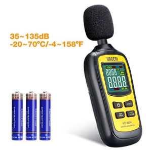 URCERI Avancé Sonomètre Professionnel, 2 Modes Gamme de 35 dB – 135 dB/Décibelmètre Portable/Testeur de Décibel/Écran Rétroéclairé et Numérique