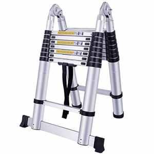SAILUN Teleskopleiter Klappleiter Ausziehleiter aus Hochwertigem Alu Teleskop-Design Mehrzweckleiter, 9 Sprossen – 74cm bis 3,20m Anlegeleiter, 150 kg Belastbarkeit (3,2m pliable)