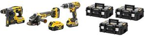 DeWalt Kit dCH273 burineur sDS-plus + dcd796 Perceuse à percussion + dcg405 Meuleuse 125 mm avec 4 batteries XR 18 V 5.0 Ah + 2 Chargeur + 3 Valisettes TSTAK