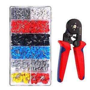 Pince à Sertir sur 4 Côtés IDESION 1200 Embouts de Câblage Pince Sertissage Cosses Outils 0.25–10 mm² Electricien Professionnel