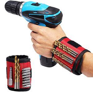 Sunnymi Bracelet magnétique, aimants bracelets de poche pour outils de ceinture Pochette sac à vis, aide à travailler pour tenir les outils (A)