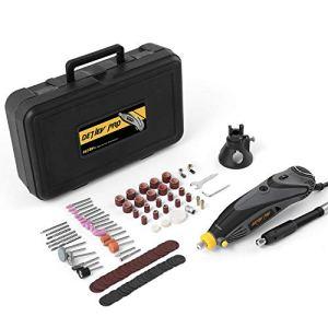 DETLEV PRO Outil Rotatif Electrique à 6 Vitesse Variable avec 100 Accessoires pour Découpage/Polissage/Meulage/Gravure, RTM4132-10E