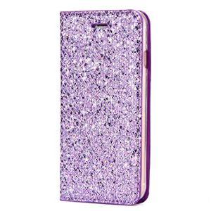 SainCat Coque Galaxy J5 2017, Ultra Slim Portefeuille Bling Bling Flip PU Cuir Paillette Glitter Fonction Support Antichoc Coque pour Samsung Galaxy J5 2017-Pourpre
