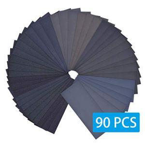 WAIIDO Carta Abrasiva Papier de verre, assortiment de papier de verre sec 9,6×23 cm pour 90 à 400 grains de grain 3000 à 3000 pour le sablage automobile de meubles en bois