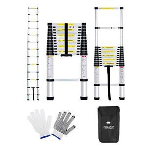 Finether 4.1M Échelle Télescopique Portable et Pliante Echelle Escamotable Polyvalent Multi-Fonction en Aluminium, 14 Echelons, Certifié EN131, 150 Kg