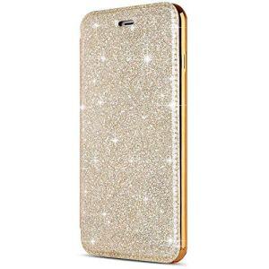 SainCat Coque iPhone 7, Ultra Slim Portefeuille Bling Glitter Flip PU Cuir Paillette Fonction Support Antichoc Coque pour iPhone 7/8-D'Or