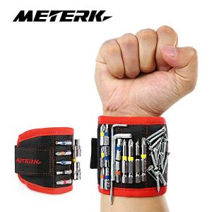 Bracelet Magnétique, Meterk Bracelet Réglable avec 10 Aimants Puissants pour Tenir au Pougnet des Outils, Tournevis, Clous, Écrous, Cadeau pour Homme, Bricoleur
