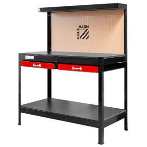Holzmann – Etabli métallique 1210 x 610 mm 2 tiroirs + fond MDF perforé + 20 crochets – WT06 – Holzmann