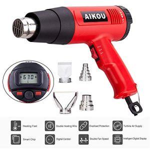 Pistolet à air chaud-1800W, 50-630℃,Pistolet thermique portatif à température réglable 220V avec affichage numérique et deux ventilateurs Chauffage rapide-AIKOU