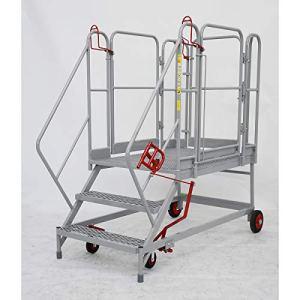 Plate-forme mobile XXL – marches grillagées – 3 marches, hauteur marche sup. 690 mm – escalier escaliers marchepied marchepieds plate-forme mobile plates-formes mobiles échelle échelle en acier