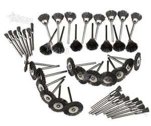 Generic OL Ensemble de mélange ARY au brosses métalliques Rotary T 45pcs brosses de Roue en Acier E Type de Roue Outil Rotatif L Pen C Tasse