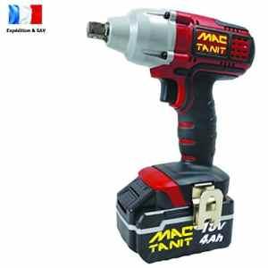 Puissante Clé à chocs, Boulonneuse à impact sans fil Brushless ECO 18V, 350 N-m + 1 batterie 4Ah et Chargeur rapide 1 h, 0 à 3500 ipm MAC-TANIT