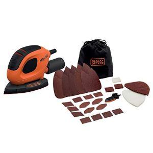 Black+Decker BEW230BC-QS Ponceuse de détail Mouse filaire – 55 W – 1,5mm de diamètre d'orbite – Fixation auto-agrippante – Vitesse variable jusqu'à 11 000 osc/min – Livrée avec 15 abrasifs