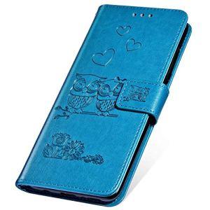 SainCat Coque pour iPhone 7 Plus/8 Plus, Coque Cuir Portefeuille avec Owl Housse Protection avec Fermoire Magnétique Stand Fonction Support Premium Flip Coque pour iPhone 7 Plus/8 Plus-Bleu