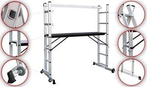 Sotech Échafaudage, Plateforme de Travail Multifonction Aluminium, Échelle Multi-Usage EN131, Charge Maximale 150 kg, 168 x 160 x 45 cm
