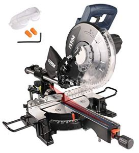 FERM Scie à onglet radiale 1900W – 255 mm – laser – avec TCT T60 lame de scie et sac à poussière | ARTISAN |