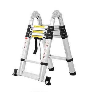 RMJAI Tabouret escabeau L'échelle d'extension en alliage d'aluminium épaisse de sécurité portative convertible en échelle verticale/à chevrons 2.2 mètres échelle ménage sept étapes Échelle Marchepie