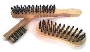 Kibros 3LOT | Lot de 3 brosses métalliques à main | 1 brosse soudeur | 1 brosse violon | 1 brosse à bougie | Fil acier laitonné | Manche bois