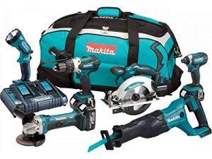 MAKITA Pack de 6 machines DLX6072PT – 3 batteries 18 V 5 Ah Li-ion – Chargeur double – Sac de transport