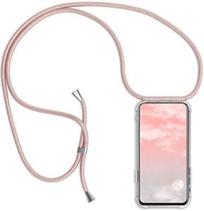 Uposao Collier Coque pour Huawei Y9 2019 Transparent Étui en Silicone avec Cordon Chaîne Sangle Dragonne,Crystal Cristal Clair Coque Souple TPU Gel Bumper Soft Skin Housse Étui,Rose Gold