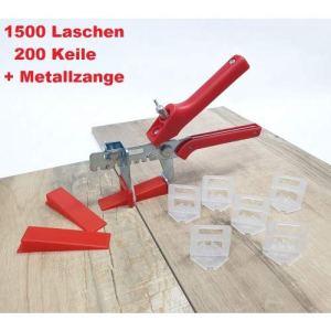 Carrelage système de nivellement Maxi-Set 3 mm 1500 languettes 200 cales + pince épaisseur de carrelage 3-12 mm