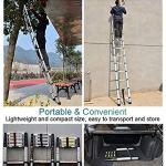 Echelle Télescopique LXLA Ladder Extension Aluminium Telescoping – Extendable échelle télescopique avec mécanisme de verrouillage de charge ressort antidérapante – 330 lb Capacité maximale (Taille, 4.