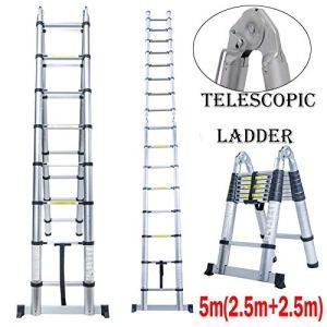 Echelle télescopique pliable droite 5 m ou cadre en A pliable 2,5 m + 2,5 m échelle à chevrons multi-usages en aluminium de haute qualité 8 x 2 marches Sûr et compact, norme EN131