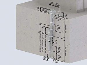 Mehrzügige échelles 530140 en acier inoxydable avec protection dorsale