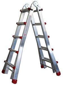 Échelle Télescopique 5+4 échelons Articulée en deux sections Pliante Profistep en Aluminium. (Jusqu'à 18 étapes)