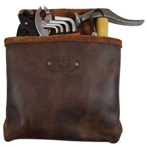 Hide & Drink Sac banane en cuir pour outils/clous/électricien/plombier Marron Bourbon