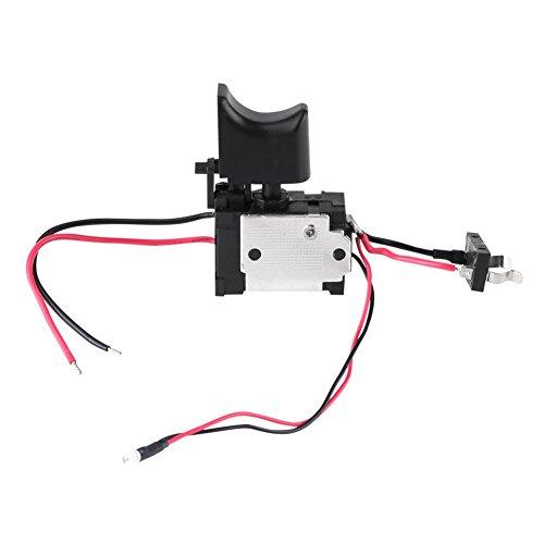Akozon Commutateur de perceuse électrique, commutateur de déclenchement de commande de vitesse de perceuse sans fil à batterie au lithium 7.2V-24V avec petite lumière