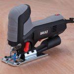 Bakaji Scie électrique alternative pendulaire 600 W Vitesse réglable 800-3000 tr/min avec inclinaison Lame en 3 positions Lame 10 cm Guide règle et adaptateur aspirateur inclus