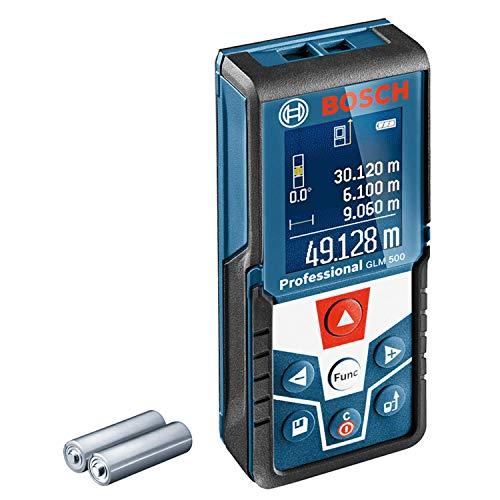 Bosch Professional Télémètre laser GLM 500 (portée : 0,05 m – 50 m, plage d'inclinaison : 0 – 360°, précision de mesure : +/- 1,5 mm, 2 piles AAA, dans boîte en carton)