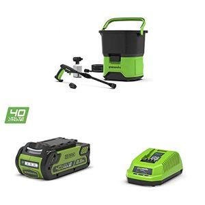 Greenworks Nettoyeur Haute Pression à Batterie GDC40 + Batterie G40B25 + Chargeur de Batterie G40UC