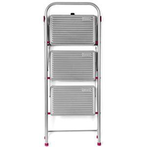 Kleeneze KL068514EU 3-Step Folding DIY Stepladder, 105cm, Pink/Grey, 180kg Capacity