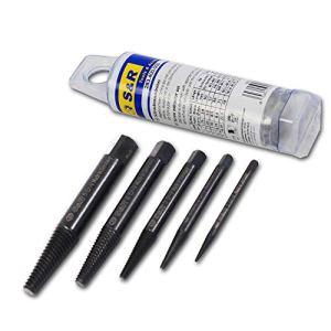 S&R Set d'extracteurs de vis de precision, 5 pièces, extracteur gauche avec carré en acier au chrome vanadium, FABRIQUÉ EN ALLEMAGNE