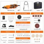 V VONTOX Outil Rotatif Electrique 135W,Outils Rotatifs Multifonction avec 100 Accessoires,8000-33000 RPM,Mini Outil Rotatif Electrique pour Projets de Bricolage Vous pour Couper, Scier, Sculpter